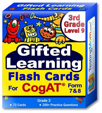 NEW Gifted Testing for CogAT Form 7 & 8 Flash Cards pack (Grade 3 - Level 9)