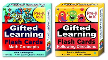 Gifted Learning Flash Cards (2-Pack) – Math and Following Directions for Pre-K - Kindergarten