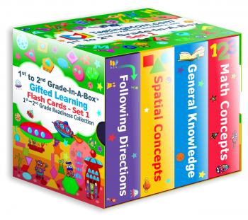 NEW Gifted Learning Flash Cards Bundle - 1st - 2nd Grade-in-A-Box. 1st to 2nd Grade Readiness Collection (Set 1) - Following Direction, Spatial Concepts, General Knowledge, and Math Concepts.