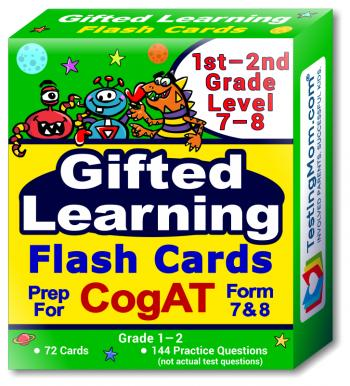 NEW CogAT Test Flash Cards - 1st - 2nd Grade- Level 7 to 8 - 72 Cards - 140+ Practice Questions - Tips for Scoring Higher on The CogAT - Verbal, Non-Verbal and Quantitative Concepts