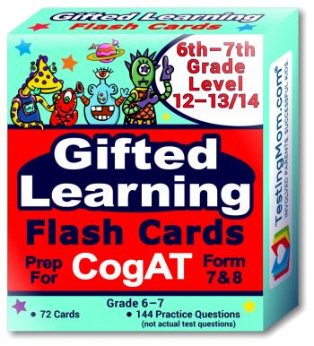 NEW CogAT Test Flash Cards - 6th - 7th Grade (Level 12-13/14) - 72 Cards - 140+ Practice Questions - Tips for Scoring Higher on The CogAT - Verbal, Non-Verbal and Quantitative Concepts