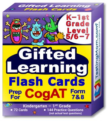 NEW CogAT Test Flash Cards - Kindergarten - 1st Grade (Level 5/6-7) - 72 Cards - 140+ Practice Questions - Tips for Scoring Higher on The CogAT - Verbal, Non-Verbal and Quantitative Concepts