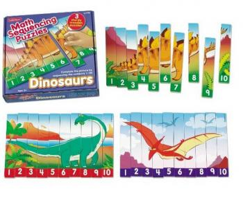 Number Sequencing Dinosaur Puzzles (Serial Reasoning)