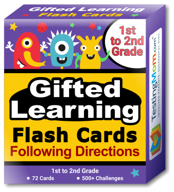 Gifted Learning Following Directions Concepts Flash Cards pack (for 1st to 2nd Grade)