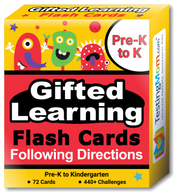 Gifted Learning Following Directions Concepts Flash Cards pack (for Pre-K-Kindergarten)