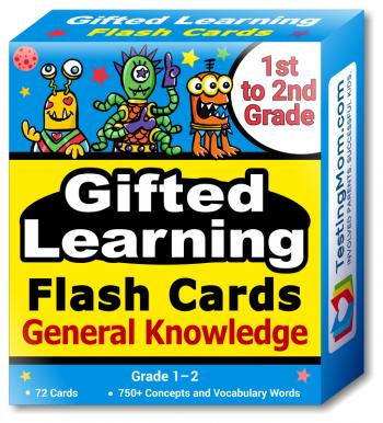 NEW TestingMom.com Gifted Learning Flash Cards - General Knowledge 1st - 2nd Grade - G&T Educational Practice: CogAT, OLSAT, Iowa, SCAT, WISC, ERB, WPPSI, AABL, Woodcock-Johnson, More