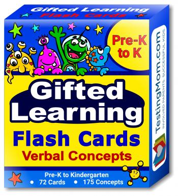 NEW Gifted Testing Verbal Concepts Flash Cards pack (for Pre-K- Kindergarten)